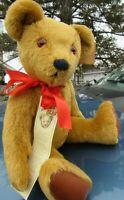 "VINTAGE MOHAIR TEDDY BEAR BUTTERSCOTCH ARTIST LYLE BIG SOFTIES ENGLAND 16"" DOLL"