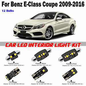 12 Bulbs White LED Interior Dome Light Kit For Benz E-Class C207 Coupe 2009-2016