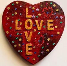 """Geschenk zum Valentinstag Muttertag Geburtstag Jahrestag Herzbild """"LOVE, LOVE"""""""