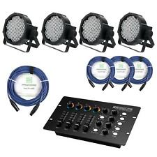 4x DJ PA STAGE LIGHTING SYSTEM FLOODLIGHT RGB 144W SET CABLES CONTROLLER DMX XLR