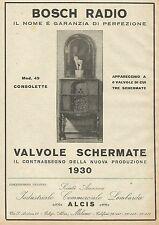 Y1147 BOSCH Radio Mod. 49 Consolette - Pubblicità 1930 - Advertising