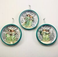 Kurt Adler Shadow Box Angel Ornament Set of 3 Angels Playing Musical Instruments