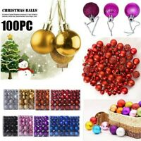 100PCS 30/60mm Christmas Xmas Tree Ball Bauble Hanging Home Party Ornament Decor