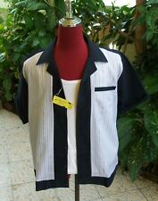 Men's Rockabilly Vintage 1950's Style Retro Bowling Blue multi Stripe Shirt,