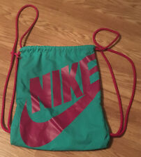 NIKE Backpack Drawstring Zipper Compartment Green Hot Pink