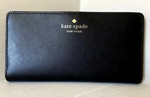 New Kate Spade Schuyler Large Slim Bifold wallet smooth Leather Black