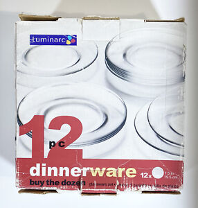"Set of 12 - Vintage Luminarc - Dinnerware Clear Glass - DESSERT PLATES -7.5"""