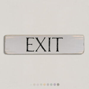 EXIT Vintage Style Wooden Sign. Shabby Chic Retro Home Gift. S2