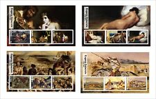 2017 EUGENE DELACROIX 8  ART PAINTINGS SOUVENIR SHEETS MNH UNPERFORATED