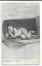 Saucy Lady Posed in Overturned Chair, Unposted no 9983 PPC, Glitter Decorated