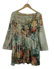 VENEZIA Womens Size XL Green Stretch Mother Nature Garden Floral Print Tunic Top