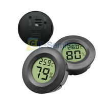Digital LCD Cigar Humidor Hygrometer Thermometer Temp Meter Round Black Face