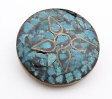 Vintage TURQUOISE BLUE INLAY Mosaic Round Brooch OLD ANTIQUE BRASS Pin India
