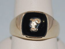 10k Gold Onyx Signet Ring with letter F