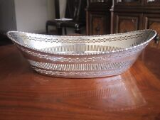 "Antique English Mappin & Webb Silver Plate Beaded Pierced Bread Basket 7"" x 13"""