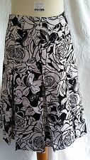 Concept UK Pleated Black & White Floral Knee Length Skirt Size 12