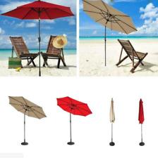9' Patio Umbrella 8 Rib Yard Garden Sun Shade Market Steel Tilt W/Crank Outdoor