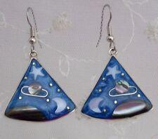 Alpaca Silver Shell Triangle Night Skies Drop Dangle Earrings Fashion Jewelry NE