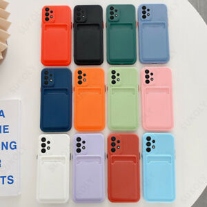 Card Holder Case For Samsung S21 Ultra S20 Note 20 A52 Shockproof Silicone Cover
