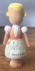 Vintage 1960s Wooden Handpainted Handmade Swedish Doll Figure Signed To The Base