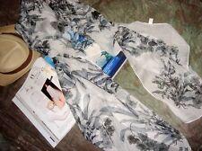 Jolie Echarpe Florale Blanc/Noir en Lin Apocynum de Xinjiang 160x50cm