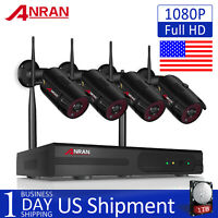 4CH 1080P Wireless Outdoor Home Security Camera System WIFI NVR CCTV 1TB HDD IPC