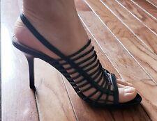 """Ann Taylor Black Strap Shoes Pumps, Size 7.5, 3.5"""" Heels"""