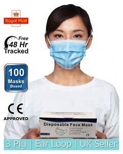 100 Pcs Non Surgical Mask 3 Ply Face Mask Disposable COMFORTABLE Respirator Mask