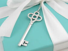 """Auth Tiffany & Co Silver Crown Key Necklace Box Pouch Packaging Included 18"""""""