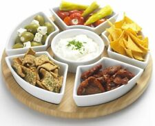 Lazy Susan Rotating Dip Set with Ceramic Dishes and Bamboo base