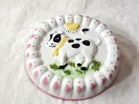 Vintage Ceramic Country Cow Gelatin Jell-O Mold Oval Kitchen Wall Hanging Vtg