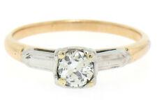 Vintage 14k Two Tone Gold G VS2 European Cut Diamond Solitaire Engagement Ring
