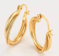 24 CT GOLD PLATED HOOP EARRINGS 2.3CM FREE SUEDE POUCH E17 PERFECT XMAS GIFT!