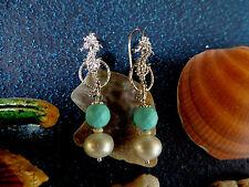 Orecchini CAVALLUCCIO MARINO in argento italiano 925, turchese e perla