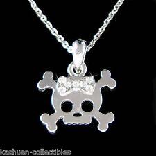 w Swarovski Crystal Cute Skull Crossbone Bow Jewelry Charm Pendant Necklace Gift