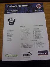 24/04/2014 Reading U21 v Manchester United U21  (single sheet). Thanks for viewi