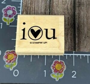 Stampin Up I Heart U Rubber Stamp Love You Wood Mount #F125