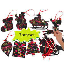 Magic Color Scratch Card Christmas Tree Ornaments Kids Scraping Drawing Toy