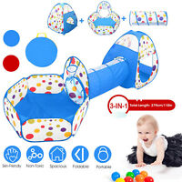 3 in 1 Portable Kids Play Tent Crawl Tunnel Set Ball Pit Tent Indoor Outdoor US