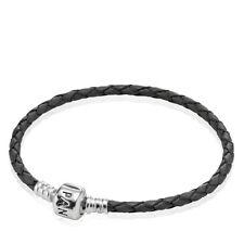 91152c1ce Authentic Pandora Black Single Leather Woven Cord Charm Bracelet 590705CBK-S