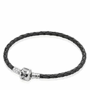 Authentic Pandora Black Single Leather Woven Cord Charm Bracelet 590705CBK-S