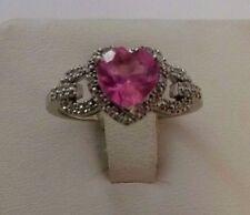 Elegant 10K Karat White Gold Ladies Ring With Heart Cut Pink Zircon & Diamonds