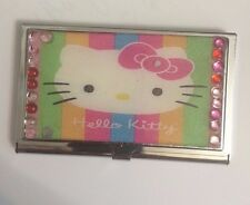 Womens stainless steel business and credit card cases ebay pink hello kitty business card holder credit card case w crystal border reheart Images