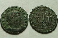 Rare Original Ancien Romain Pièce de Monnaie Delmatius 335ad Soldats Legion