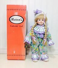 """Brinn's Jelly Bean Clown 16"""" Porcelain Girl Clown Doll Collectible Edition 1992"""