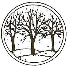 WINTER BARE BRANCH TREES CIRCLE Wood Mounted Rubber Stamp NORTHWOODS C10164 New