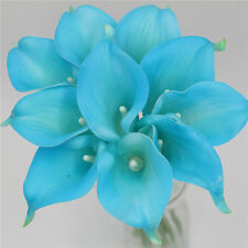 10 Turquoise Malibu Calla Lilies Real Touch Flowers For Wedding Bridal Bouquets
