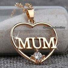 BLACK FRIDAY DEALS Gold Diamond Heart MUM Necklace Gift For Her Mother Mom Women