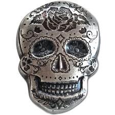 2 oz Monarch Poured Silver Rose Skull .999 Ag Art Bar Round ! 777 Dia de Muerto