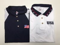 Patriotic Men's Stars & Stripes Golf Performance Polo Shirt Made in America NWT